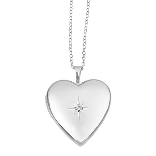 Sterling Silver and Diamond Heart Shape Starburst Locket Pendant for Women - Polished, 12MM