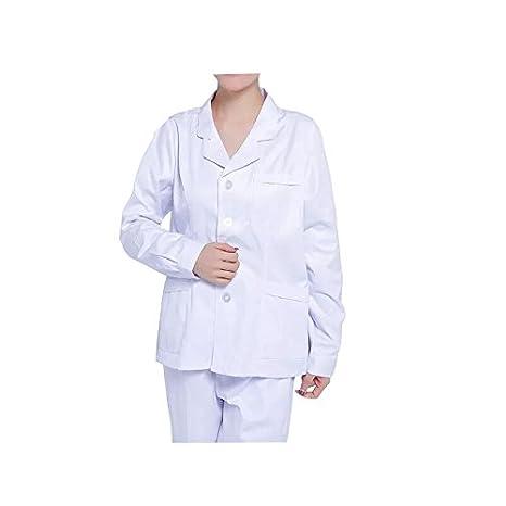 WDF Bata de Laboratorio médicos Bata Uniforme de Trabajo Enfermera Blanco Mujer Manga Larga Corto párrafo Botones Esposas: Amazon.es: Ropa y accesorios