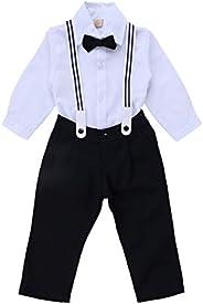 Conjunto Calça Camisa Manga Longa com Suspensório e Gravata Din Don, Branco/Preto
