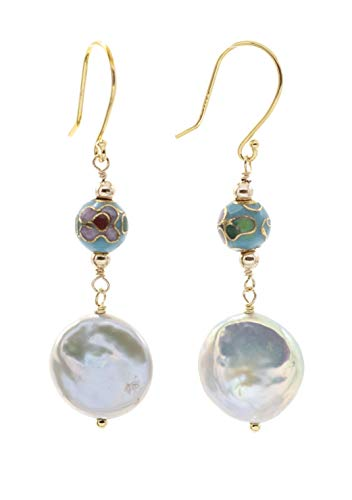 (14k Gold Filled Silver Gray Coin-Shaped Fishhook Earrings with Turquoise-Colored Cloisonne and Gold Bead Accents)