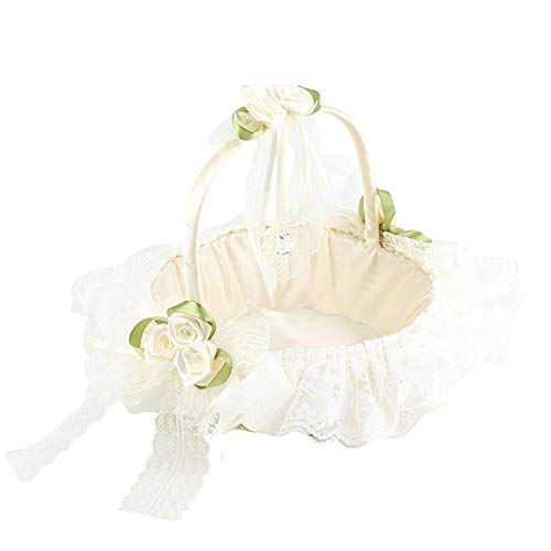 Zerodis Romantic Beige Flower Girl Basket Bamboo Weave Bridal Baskets with Lace Satin Bowknot for Wedding Party - Bridal Basket
