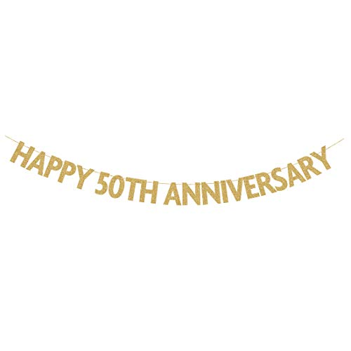 Happy 50th Anniversary Banner, Gold Glitter 50th Anniversary Party Garland Sign, Photo Prop Decorations ()