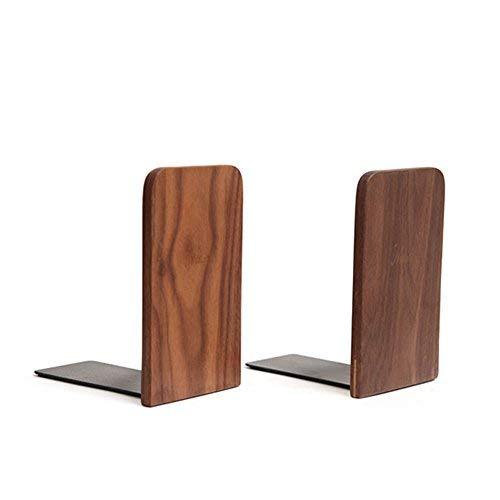 HaloVa Bookend, Universal Decorative Wooden Book Organizer, Strong Nonskid Durable Bookshelf for Home Office Desk Desktop Books Storage, Square(1 pair)