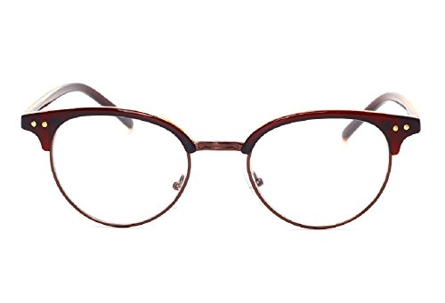 Unisex JTS1813 Plastic Half-frame Metal Rim Studded Browline Eyeglasses (Brown, - Prescription Ray Bans Cheap
