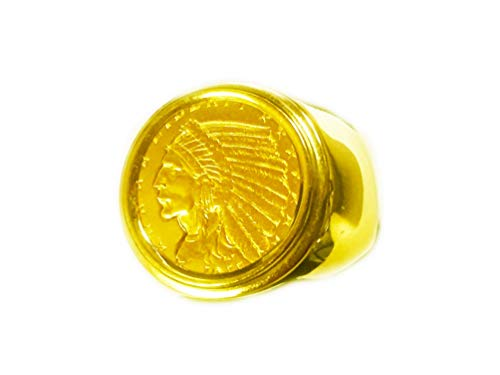 - GENUINE INDIAN HEAD 2 1/2 DOLLAR GOLD COIN in 14K GENTS RING MOUNTING