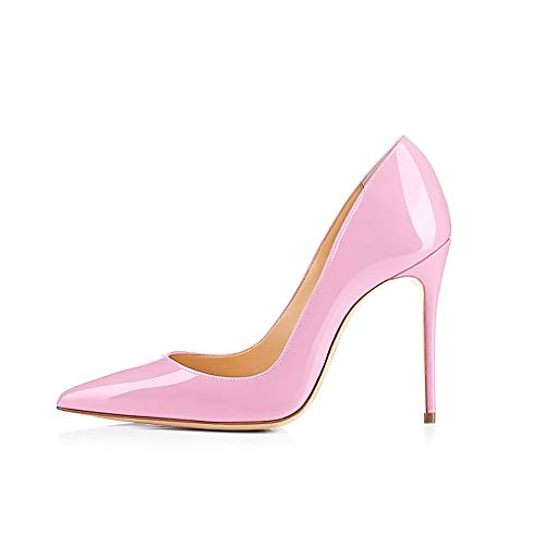 - GENSHUO High Heel, 10cm/3.94 Inch Stiletto High Heel Shoes for Women Pointed Toe Party Evening Dress Pumps Prom 10CM PK 8 Pink