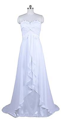 RohmBridal Women's Sleeveless Chiffon Beach Wedding Dress