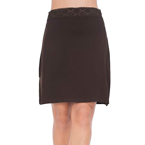 MANCYFIT Half Slips for Women Underskirt Short Mini Skirt with Floral Lace Waistband Coffee Large