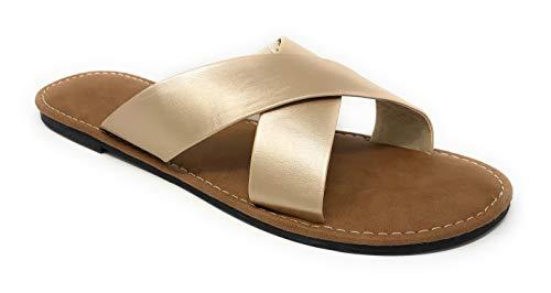 Charles Albert Women's Basic Criss Cross Straps Slip-On Flat Slide Sandal in Gold Size: 9 ()