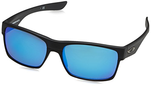 Oakley Men's Twoface Square Sunglasses, Matte Black w/Sapphire Iridium Polarized, 60 mm