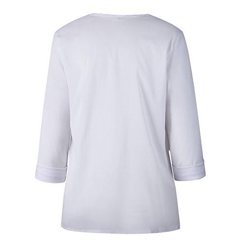 Chemisiers Chemises Tops Hauts Casual Fashion Automne Blanc Blouse Shirts Printemps Irregulier Sweatshirts Longues Manches Bouton Femmes et XwxCqnE7FU