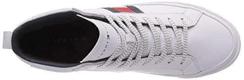 White Leather Tommy Sneaker High Blanc Hilfiger 100 Baskets Detail Flag Hautes Homme qqIgBv