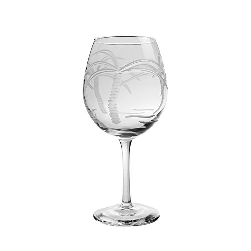 Rolf Glass 203171-S/4 Palm Tree Balloon Glass (Set of 4) 18 oz Clear - Coastal Palm Decor Trees