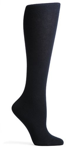HUE Women's Flat Knit Knee Socks (Pack of 3),Navy,One Size ()