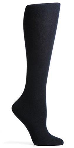 HUE Women's Flat Knit Knee Socks (Pack of 3),Navy,One Size