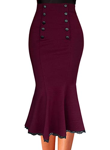 VFSHOW Womens Dark Red Vintage Buttons Work Office Business Party Mermaid Pencil Midi Skirt 2735 RED XL
