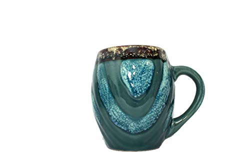 Large Java 16 oz Ounce Ceramic Coffee Mug for Latte Cappuccino Hot Cacao Cocoa White Chocolate Americano Macchiato Doppio Mocha (Barrel Blue)