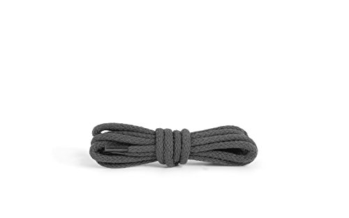 Round Shoe Laces, Quality Durable 100% Cotton (47 inch / 84 - dark gray)