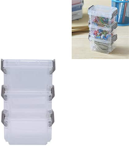 LJSLYJ Small Transparent Storage Bin Box Container with Lids Handles for Home Office