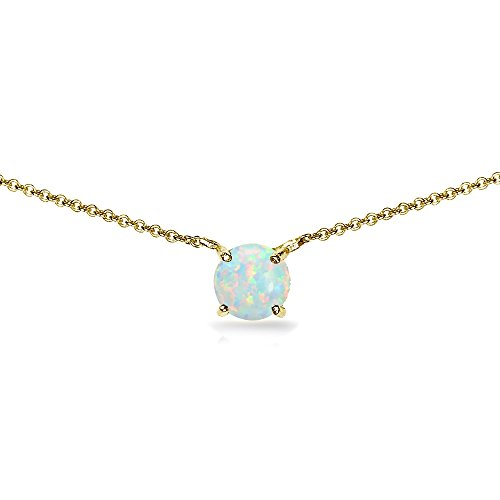 Yellow Gold Flashed Sterling Silver Simulated White Opal 7mm Round Dainty Choker Necklace