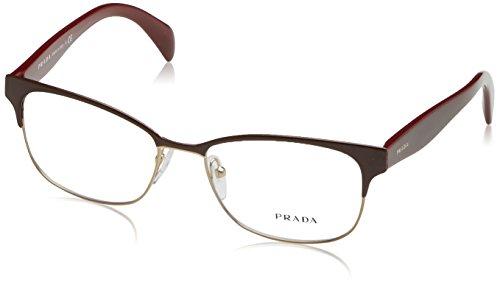 Prada PR65RV Eyeglass Frames UAN1O1-53 - Bordeaux On Pale Gold - Eye Glass Prada
