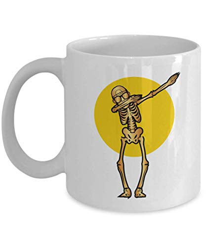 Funny Skeleton Dab Ceramic Halloween Gothic Art Coffee & Tea Gift Mug, Party Giveaways, Novelty Gifts, Items And Accessories For Goth Men & Punk Women (11oz)