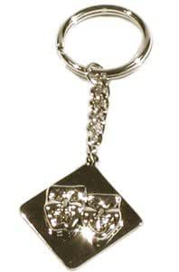 Keychain - Square Comedy & Tragedy (Silver)