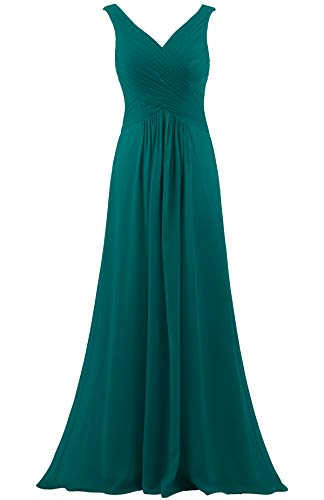 (ANTS Women's V Neck Sleeveless Long Bridesmaid Dresses Chiffon Gowns Size 18W US Teal)
