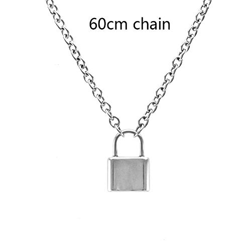 spyman Handmade Men Women Stainless Steel Square Lock Pendant Necklace Padlock Charms Choker Necklace,60cm ()