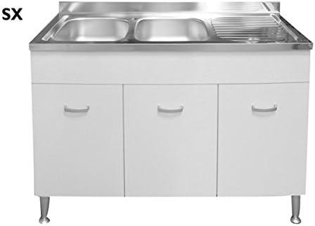 Meuble Sous Evier Inox Evier Complet Avec Pieds En Aluminium 120 X 50 Blanc Lux Sx Amazon Fr Cuisine Maison