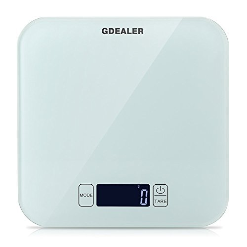 GDEALER Kitchen Scale 22lb/10kg Digital Kitchen Food Scale, Tempered Glass Surface Touch Screen, High Precision, Tare, White Backlit Display, Smart Weigh by GDEALER