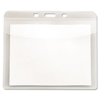 Read Right PVC-Free Badge Holders, Horizontal, 4'' x 3'', Clear, 50/Pack
