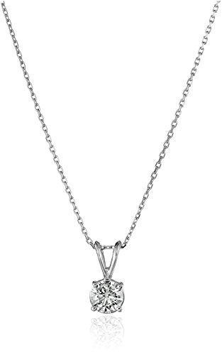 "14k White Gold Round-Cut Diamond Solitaire Pendant Necklace (3/4cttw, K-L Color, I1-I2 Clarity), 18"""