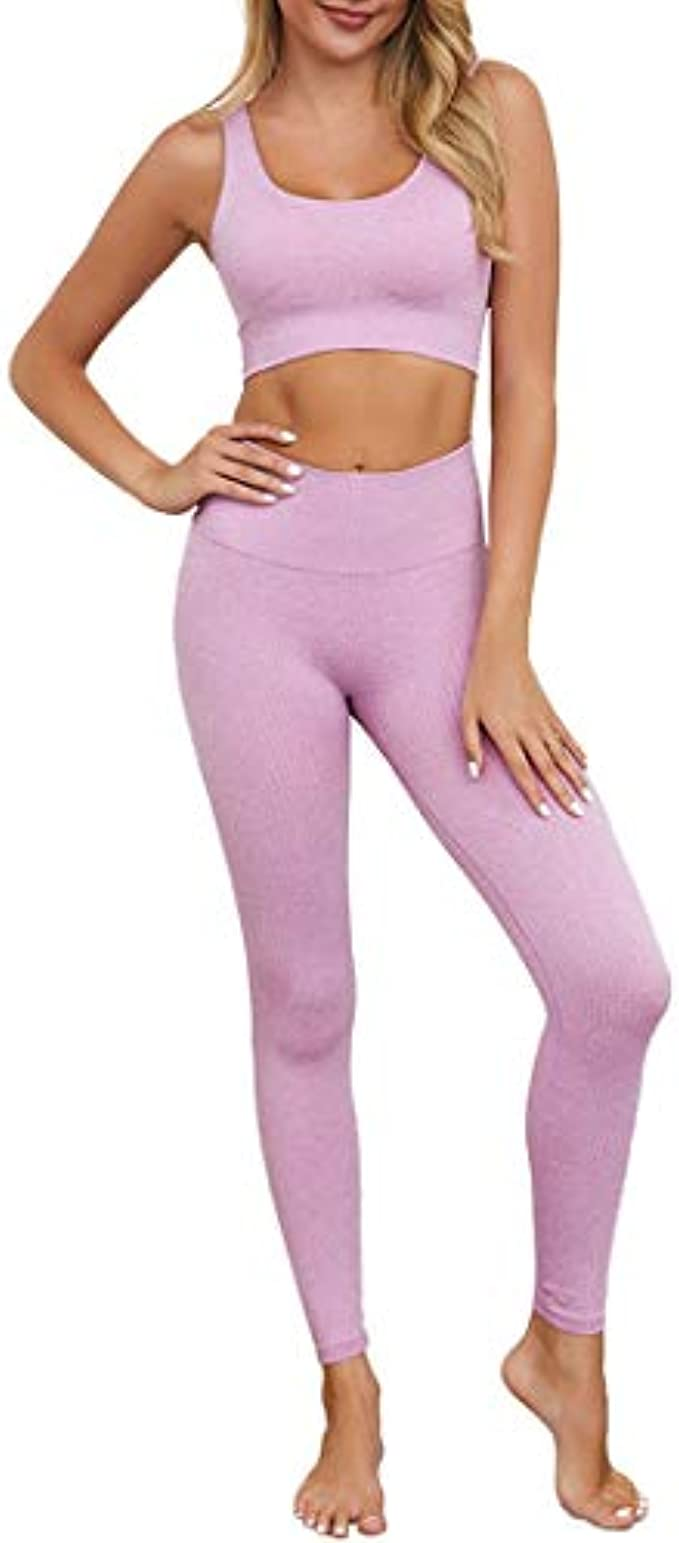 OLCHEE Women's 2 Piece Tracksuit Workout Outfits - Seamless High Waist Leggings and Stretch Sports Bra Yoga Activewear S