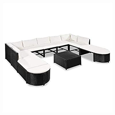 HomyDelight Outdoor Furniture Set, 12 Piece Garden Lounge Set with Cushions Poly Rattan Black