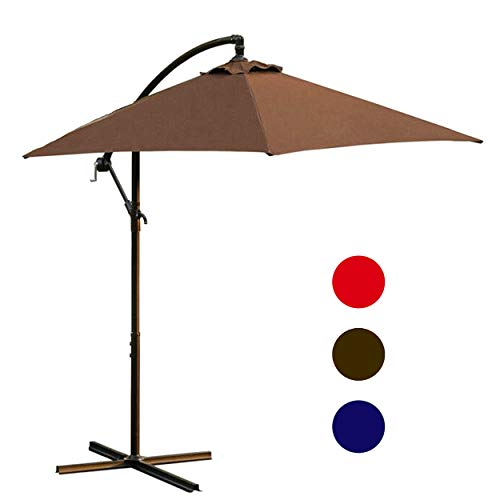 LOKATSE HOME 10 Ft Offset Outdoor Cantilever Hanging Umbrella for Patio with Crank Cross Base, 3 Large Brown