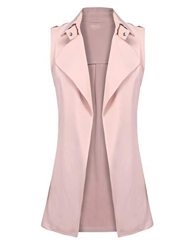 Gfones Women's Open Front Blazer Jacket Coat Casual Sleeveless Solid Vest - Vest A-line
