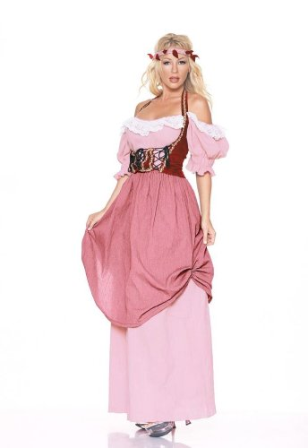 [4Pc Renaissance Maiden Sexy Holiday Party Costume (Pink;Large)] (Pink Renaissance Dress)
