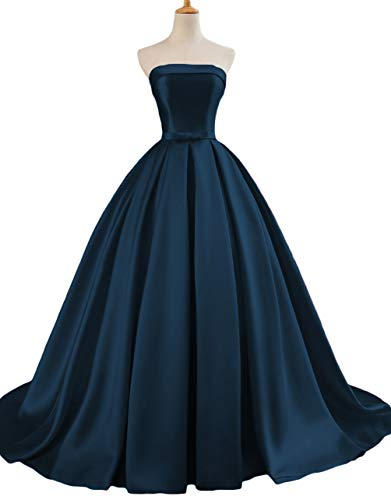 (Dymaisei Women's Strapless Ball Gown Prom Party Dresses 2019 Long Formal Dresses US16 Navy)