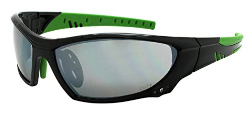 Edge I-Wear Sports Safety Sunglasses ANSI Z87+ Color Mirror Lens 570102/FM-2(BLK+GN) - Edge Sport Sunglasses