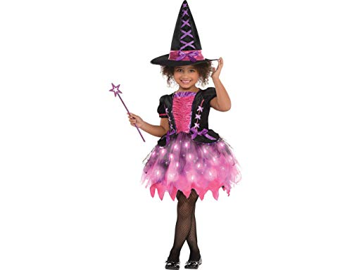 Amscan Girls Light-Up Sparkle Witch Costume - Small (4-6) ()