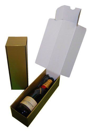 10 Gold Cardboard Wine Bottle Gift Presentation Boxes with Black Tissue Paper ei-Packaging