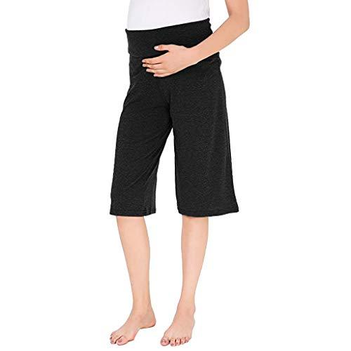 (Weiliru Women's Maternity 3/4 Casual Bohemian Damask Palazzo Pants W/Tummy Control Loose Pants)