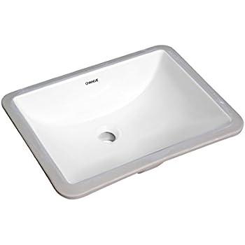 CHANGIE Rectangular Lavatory Undercounter Bathroom Ceramic Sink 1633W,White,18x13  Inches