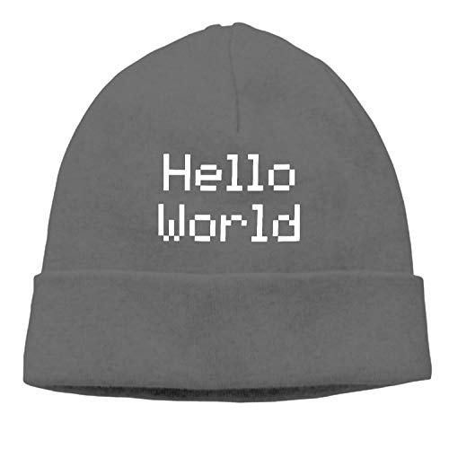 Hello World Unisex Warm Chunky Thick Stretchy Knit Beanie Skull Cap Winter Knitting Warm Hat