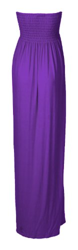 Fast Fashion Damen Plain Boobtube Gummizug Bogen Scherung Maxi Kleid (EUR 36/38 - UK (8-10), Purple)