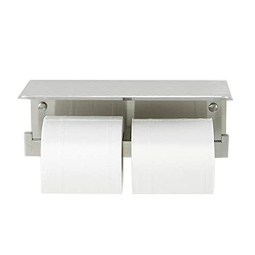 CRW Double Toilet Paper Holder with Shelf Stainless Steel Rustproof Bathroom Tissue Roll Dispenser Brushed Nickle Wall Mounted ()