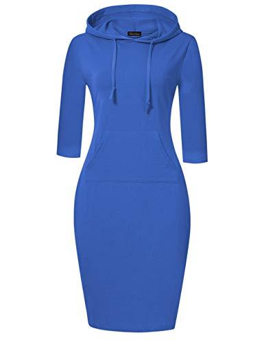 GloryStar Women's Pullover Pocket Knee Length Sweatshirt Hoodie Dress Casual Fitted Hoodie Dress (XL, Blue)