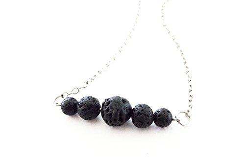 Essential Oil & Aromatherapy Diffuser Lava Stone Pendant Minimalist Necklace