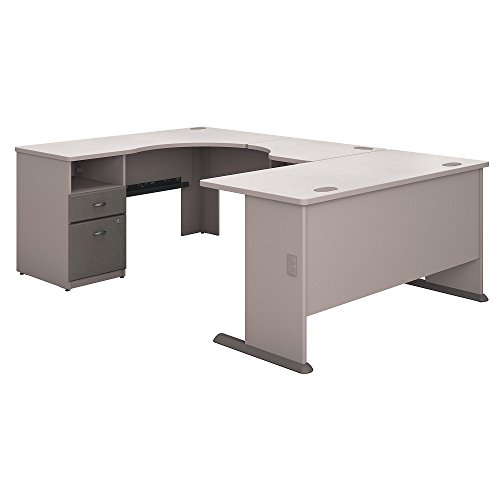 (Bush Business Furniture Series A 60W x 93D U Shaped Desk with 2 Drawer Pedestal in Pewter and White Spectrum)